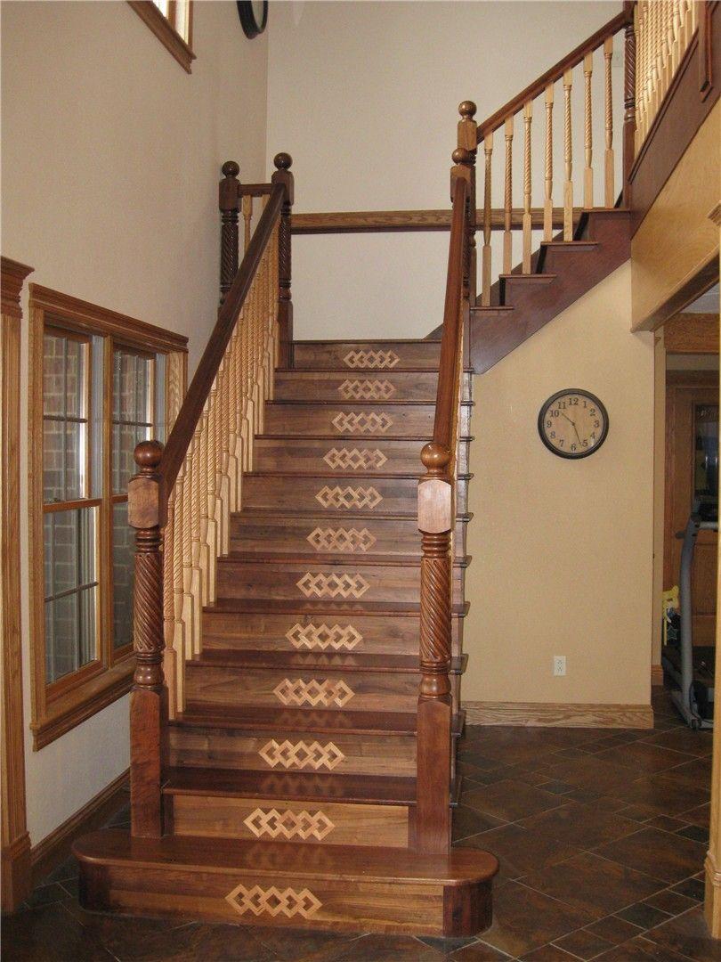 Custom Walnut Staircase With Decorative Risers Form Wood Floor By Wicks Walnut Handrail Oak Spindles See More Custom Wood Creatio Wood Floors Wood Flooring