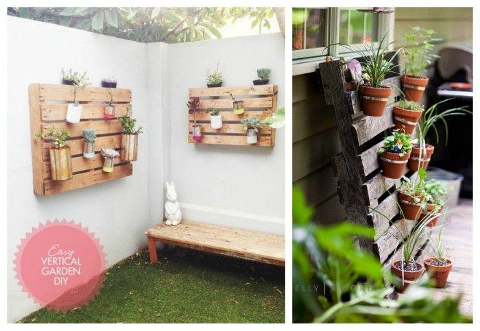 decoracin con palets para jardines verticales Plantas Pinterest