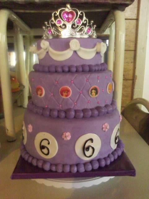 Princess cake, disney, flower, purple, Sofia.