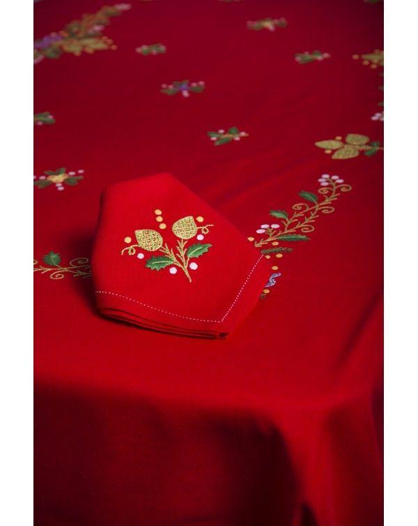 Mantel de artesanía lagarterana con motivos navideños Artesanía