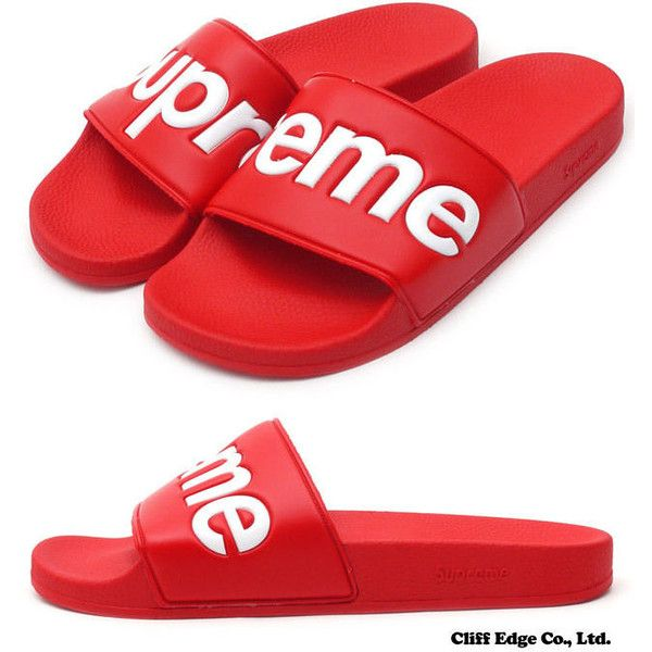reputable site abac0 183d6 105 RED 10 SUPREME SANDALS SLIPPERS SLIP ON FLIP-FLOPS JORDAN NIKE ❤ liked  on Polyvore featuring shoes, sandals, flip flops, red shoes, pull on shoes,  ...