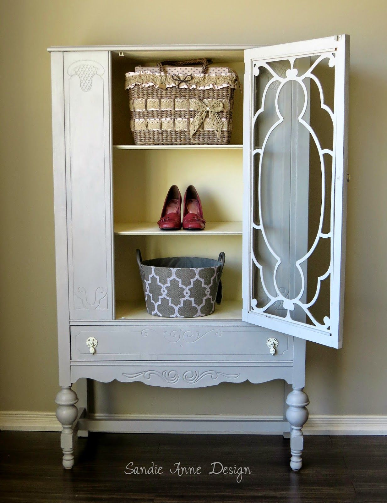 Sophie ~ Reinventing the antique china cabinet. Annie Sloan's Paris Grey and Old White.