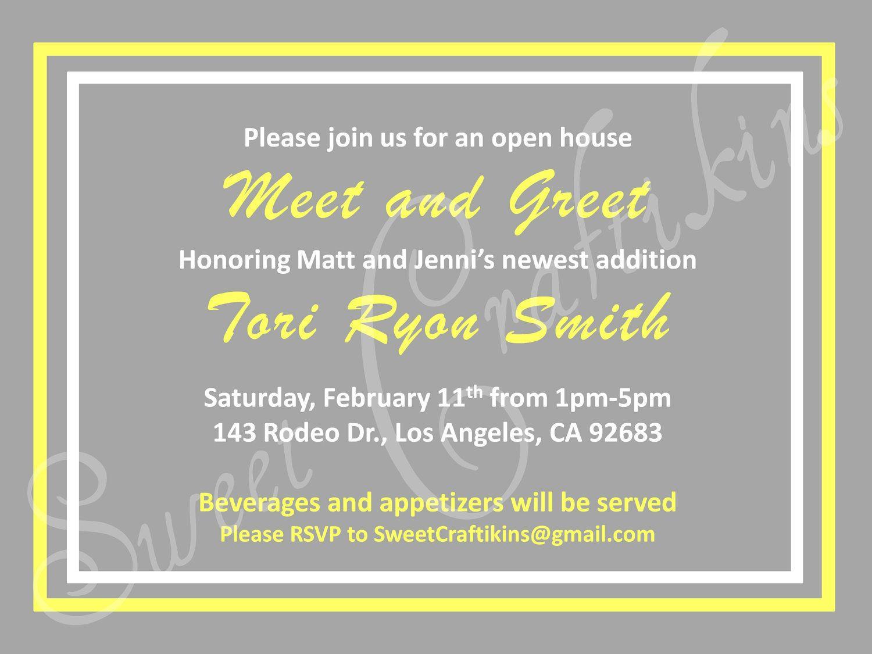 DIY Printable Meet and Greet / Baby Shower Invitation Grey & Yellow … |  Baby shower invitation wording, Baby shower invitation cards, Onesie baby  shower invitations