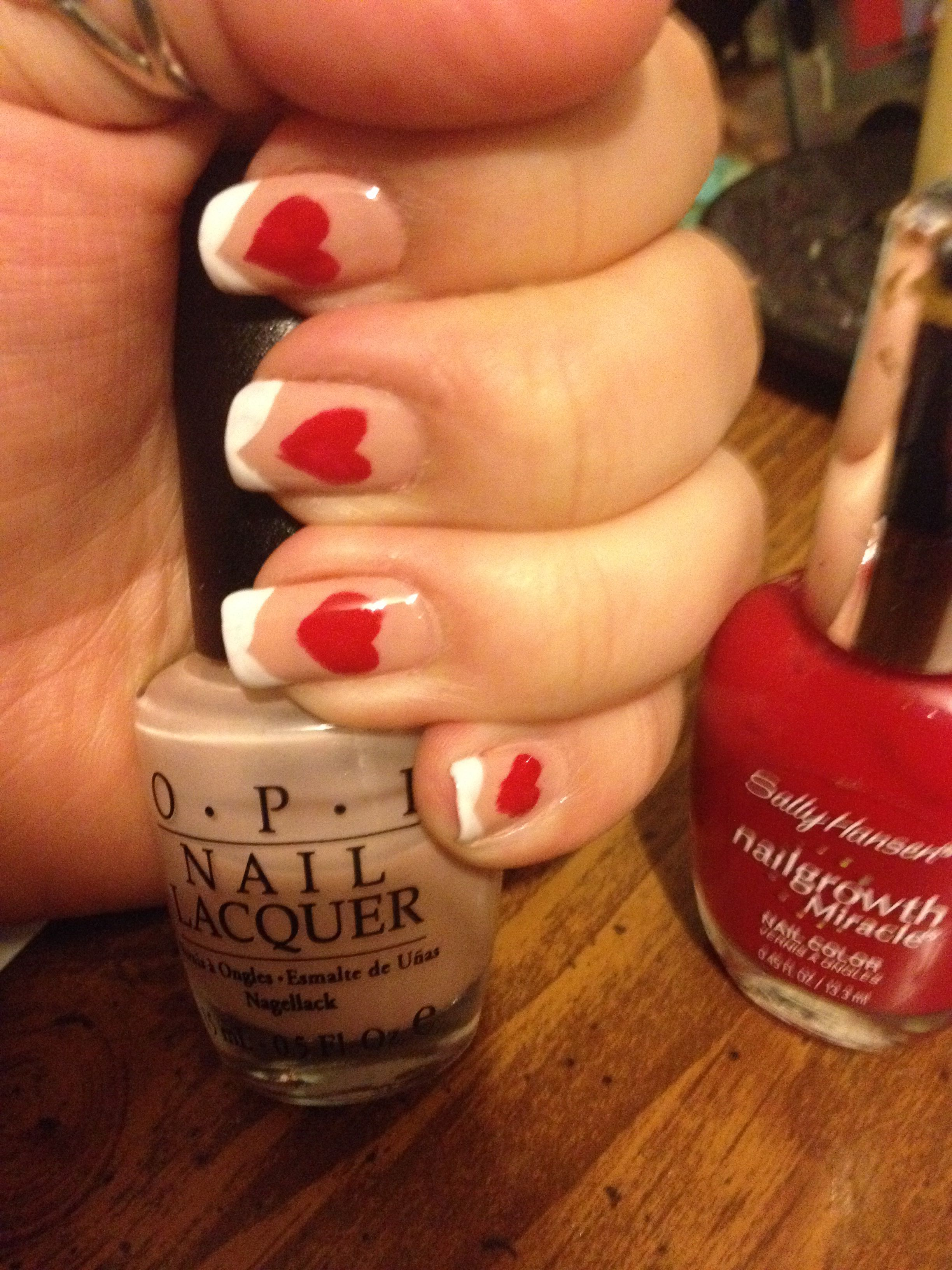 My heart nails red French tip | Nails | Pinterest