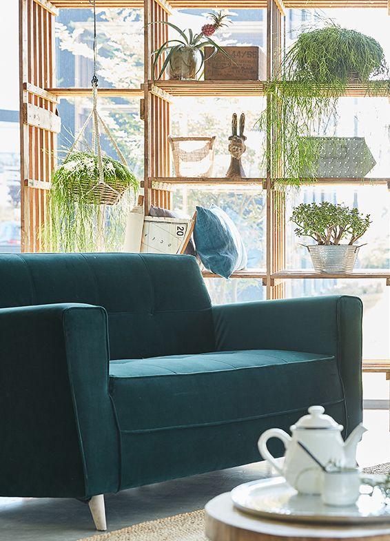 Vicky Canape Canape 2 Places Fixe En Velours Vert Fonce Decoration Deco Maison Alinea Canape Design Deco Salon Canape