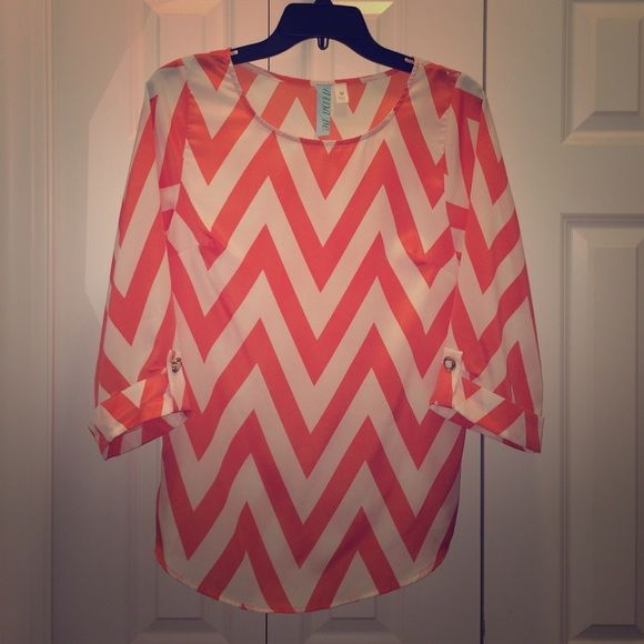 Chevron- Made in USA Coral Blouse Size Medium Really cute top with great gold button detail. Perfect for spring / summer. Lightweight, 100% polyester. Does not require dry cleaning. Worn less than a handful of times. Tops Blouses
