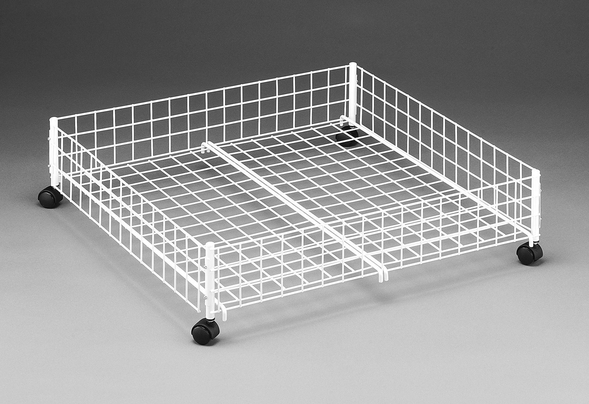 Simple Wheeled Wire Basket Under Bed Storage Box Bin Holder Toys