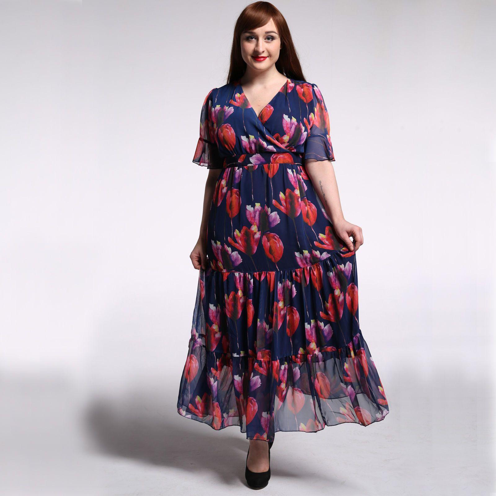 Plus size lxl bohemian beach long dress summer everyday womens