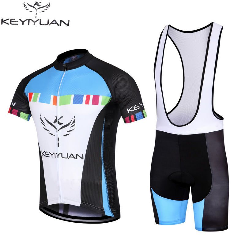 KEYIYUAN Bicycle Shirt Men's Ropa Ciclismo Cycling Jersey Bike Bib Shorts Suit Wear Outdoor Comfortable