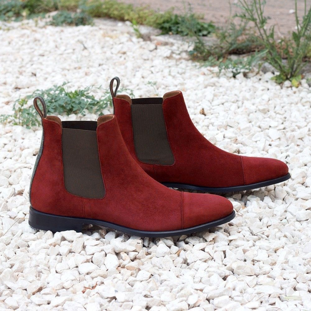 maroon suede chelsea boots