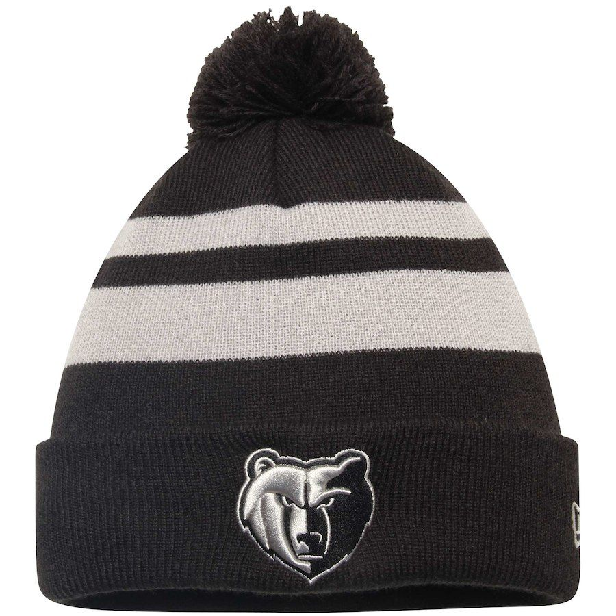 eb8089f8728 Men s Memphis Grizzlies New Era Black Double Stripe Cuffed Knit Hat with  Pom