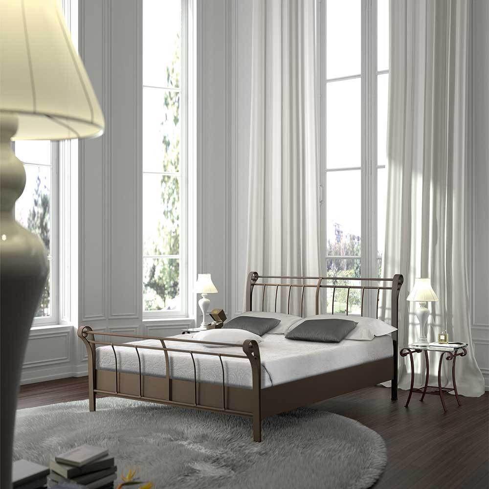 Bett aus Metall Braun Landhaus möbel, Schlafzimmer