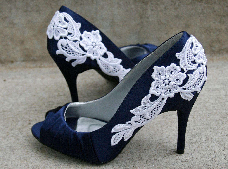 Navy Blue Wedding Shoes With Venise Lace Applique. Size 7