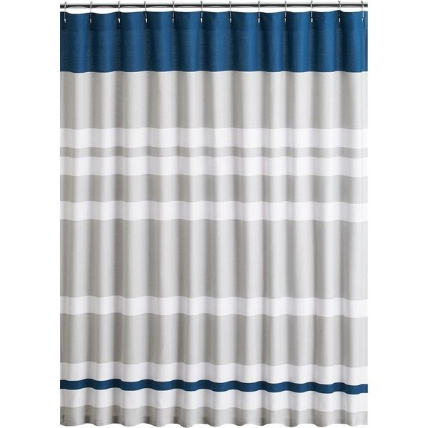 CB2 Lively Blue Shower Curtain Featuring Polyvore Home Bed Bath Curtains Cb2 Striped Cotton And