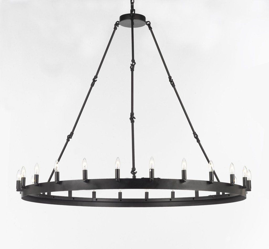 Wrought Iron Vintage Barn Metal Camino One Tier Chandelier