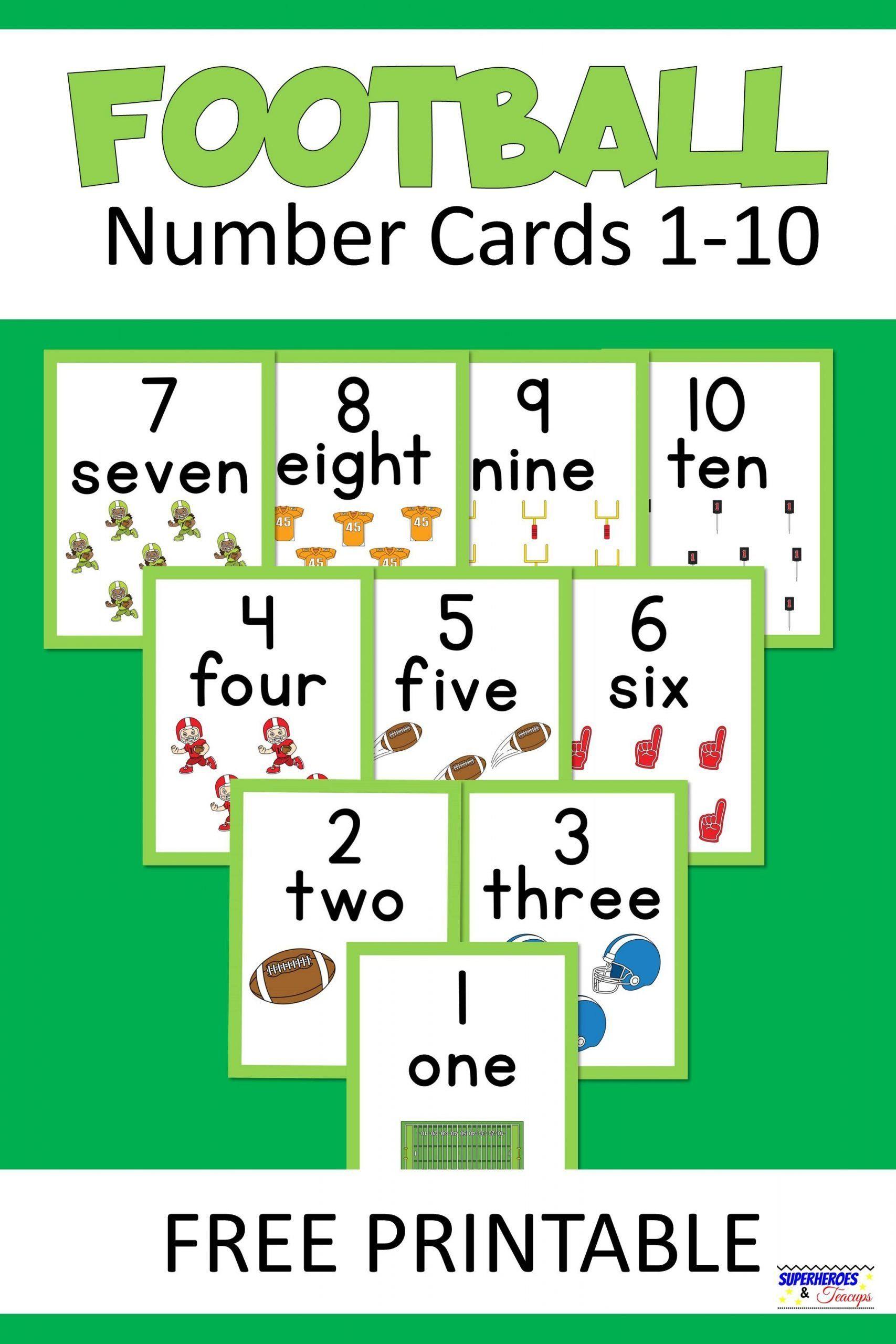 Football number cards free printable basic math fun