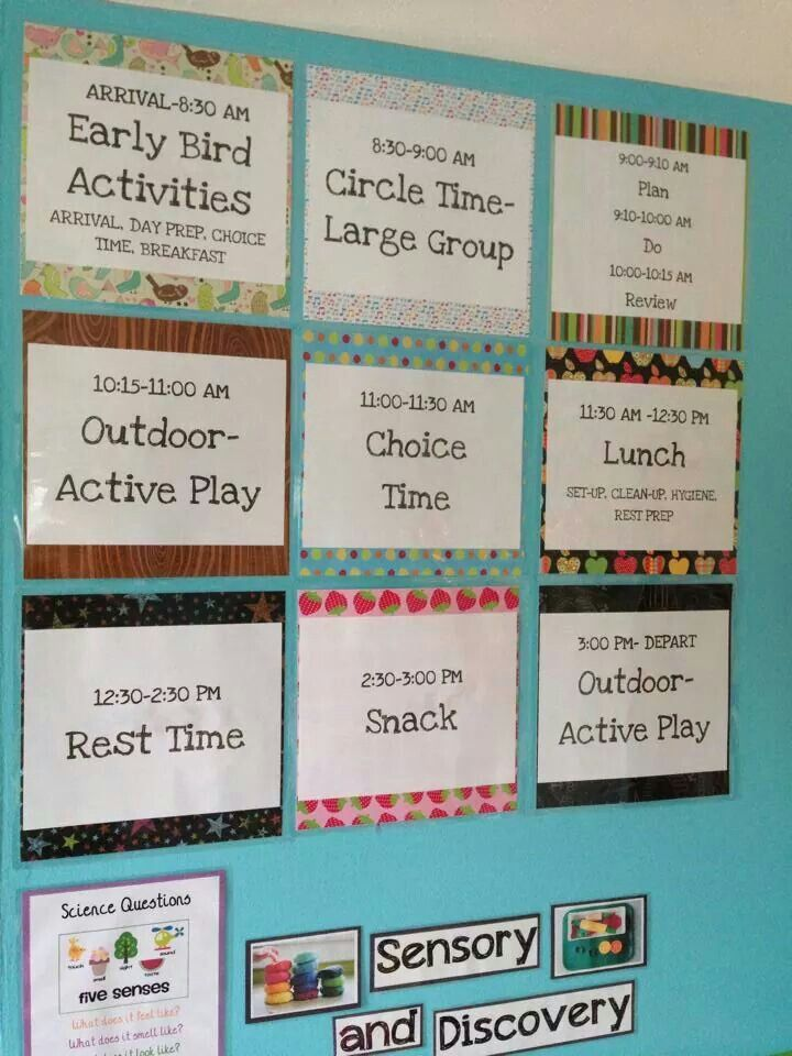 Daycare Schedule, Daycare Activities