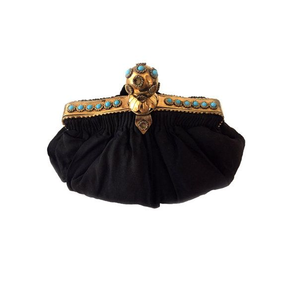 Vintage Black Silk Faille Evening Bag with Turquoise Cabochon Frame c.1940s