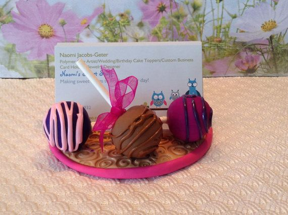 Polymer clay business card holdersweetscake popschocolate sweet polymer clay business card holdersweetscake popschocolate sweet shop card holder chocolate strawberriescupcakes cake pop baker reheart Image collections