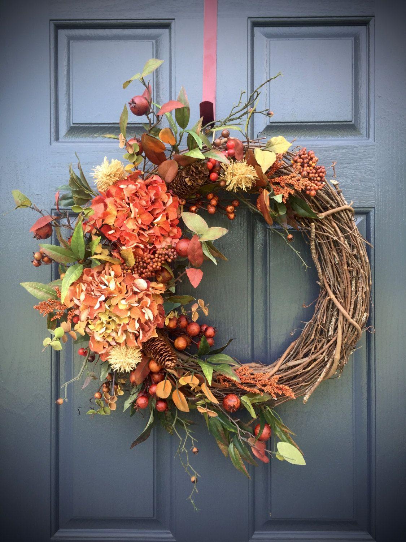Fall Hydrangea Wreath Fall Door Wreaths Fall Decorating Fall