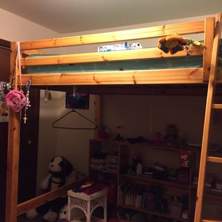 Full size loft bed with ladder, mattress not included ...