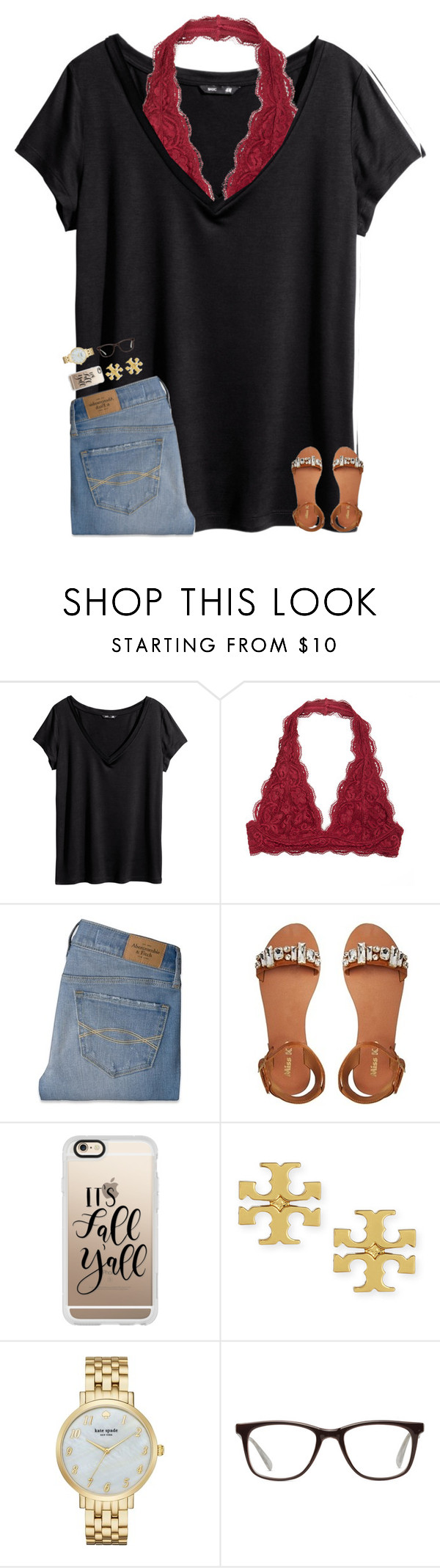 """It's the weekend!🌻🌞🍉"" by breezerw ❤ liked on Polyvore featuring H&M, Abercrombie & Fitch, Miss KG, Casetify, Tory Burch, Kate Spade and GlassesUSA"