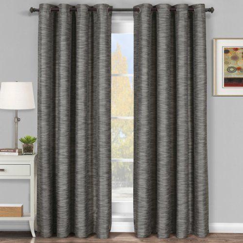 Galleria Gray Silver Grommet Blackout Window Curtain Panel