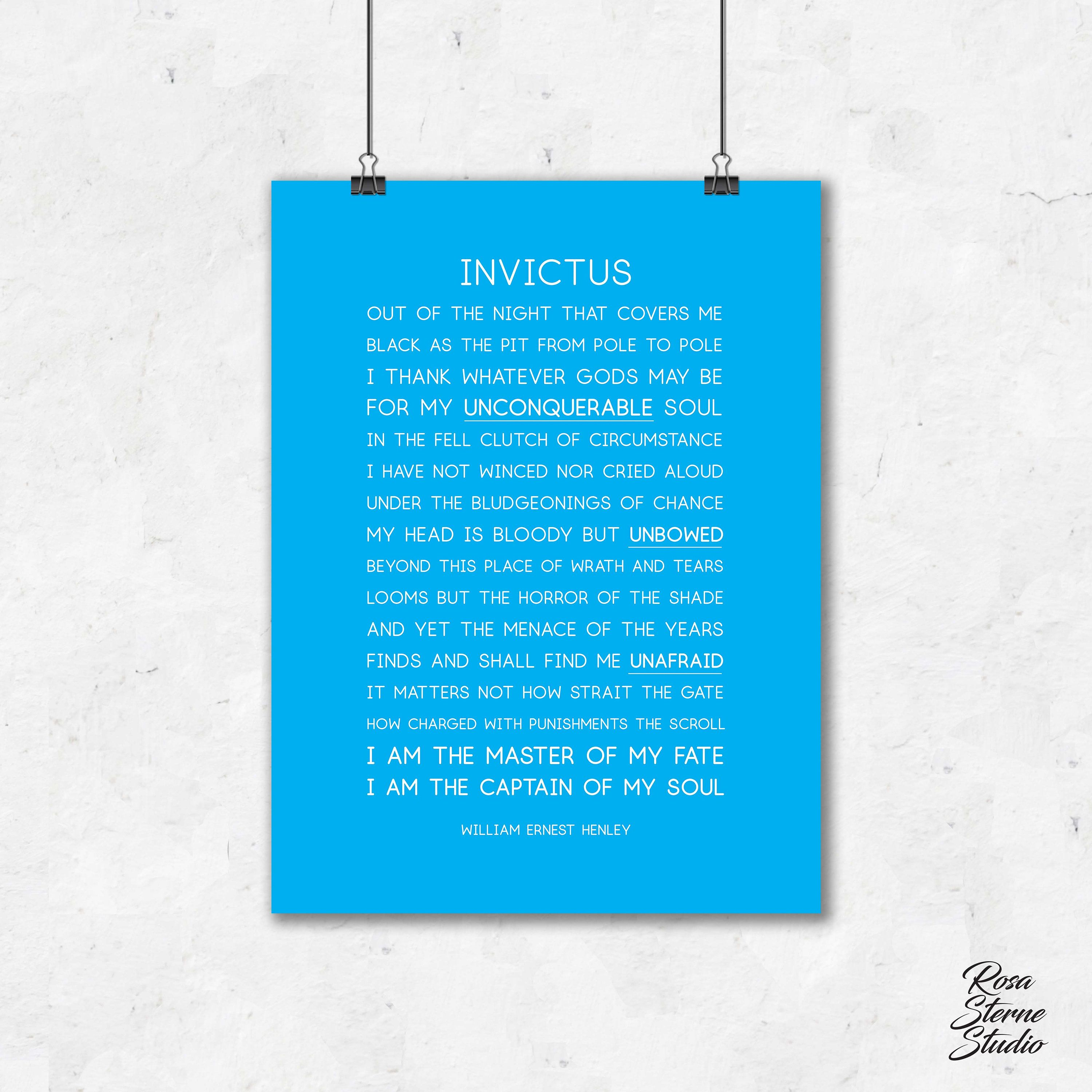 Invictus Poem Print Invictus Invictus Print Invictus Poster