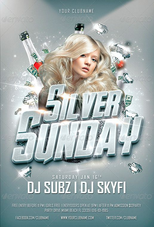 Silver Sunday Party  Club Psd Flyer Template  Festas Feriados