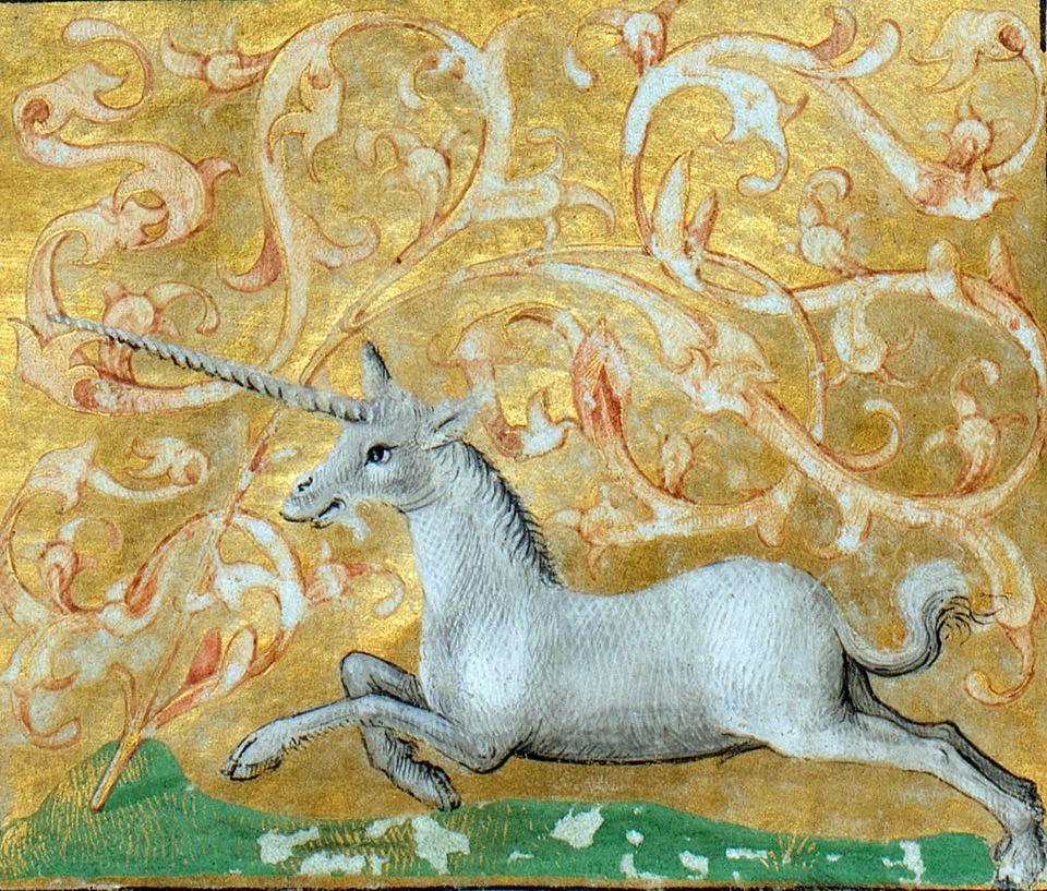 galloping unicorn Brunetto Latini, Li Livres dou Trésor, Rouen ca. 1450-1480 (Bibliothèque de Genève, Ms. fr. 160, fol. 82r)