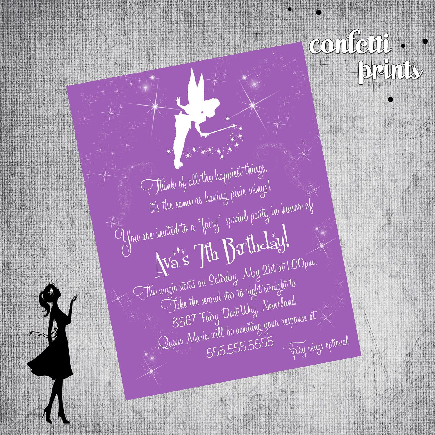 happy birthday invitation pictures%0A Printable Birthday Invitation TINKERBELL by confettiprintables