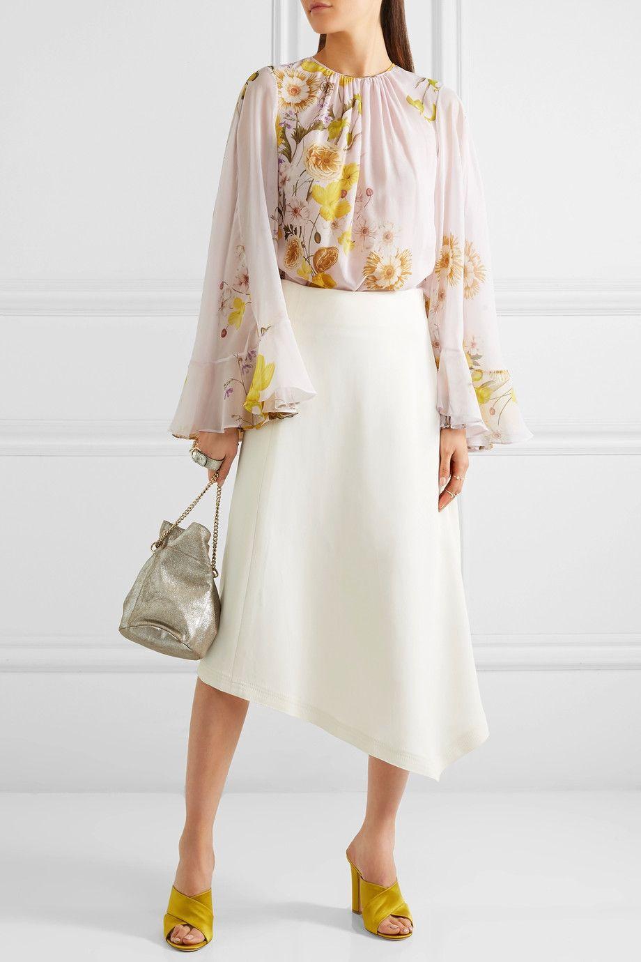 Giambattista Valli - Cape-back ruffled printed silk-chiffon blouse