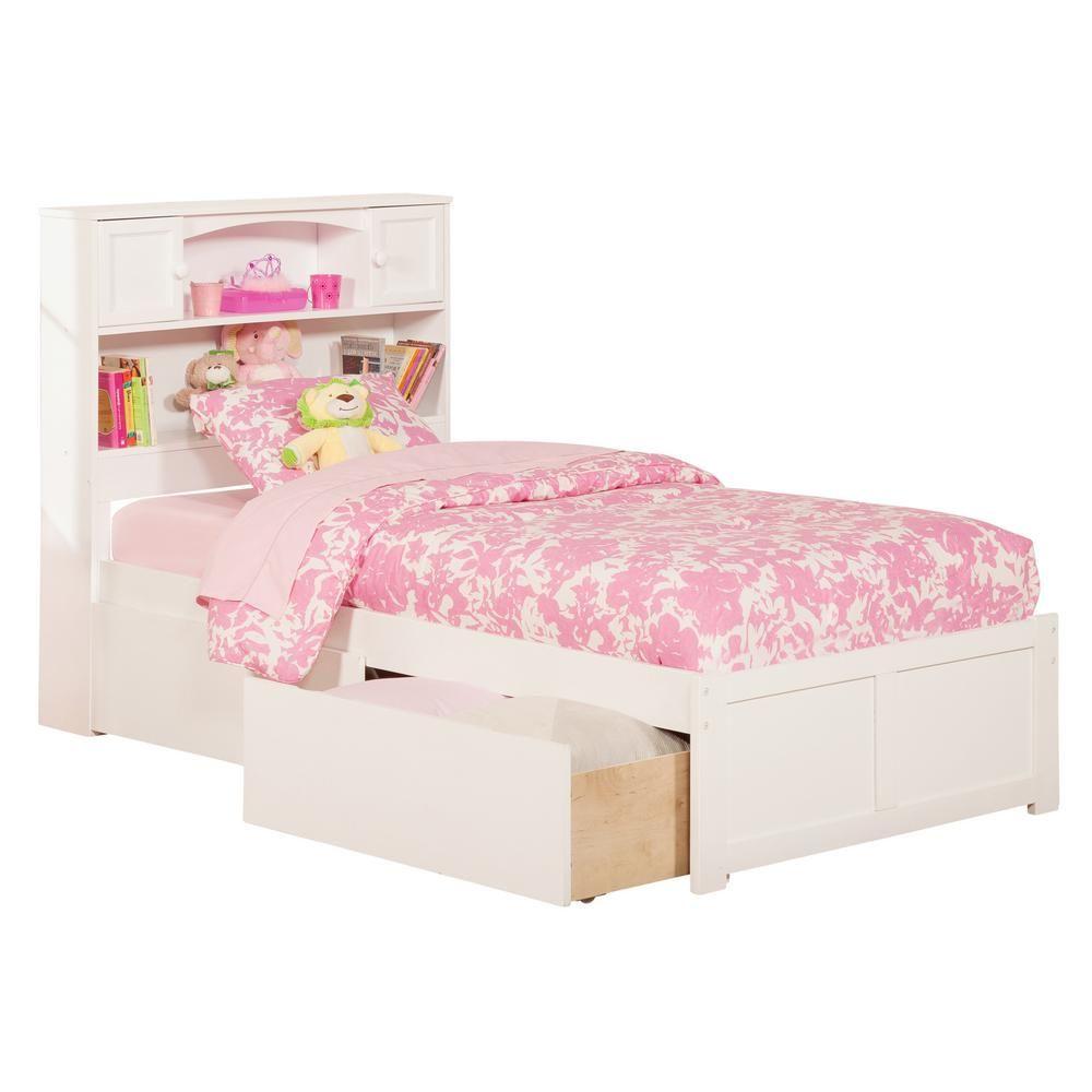 atlantic furniture newport white twin xl platform bed with flat rh pinterest at