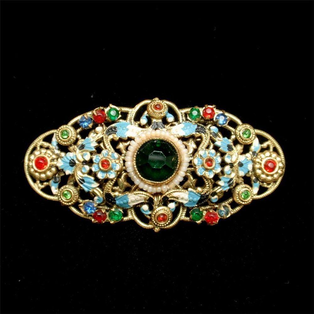 fd8a914b3fc7b Czech Vintage Brooch Pin Multi-Colors Stones and Enamel ...