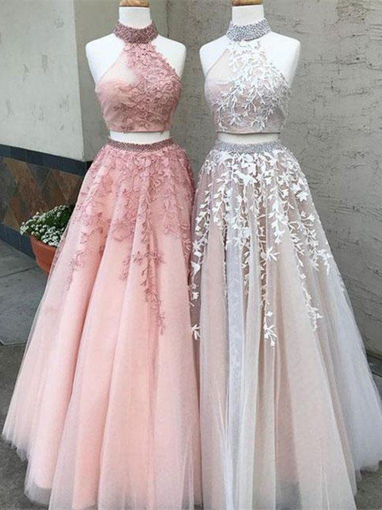 2 Pieces Champagne/Pink Lace Prom Dress, 2 Pieces Lace Formal Dress ...