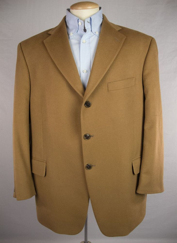 SILVERSTONE Mens Blazer Size 46 XL Short Camel 100% Cashmere 3 ...