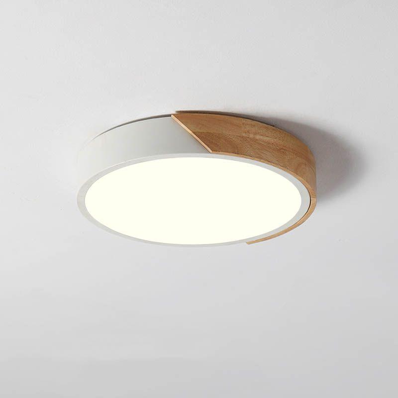 Dimmable Modern Minimalist Led Round Shaped Wood Metal Acrylic