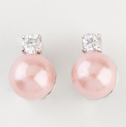 Pink Pearl Stud Clip Earrings. -- Gift Lysiana gives Amniese