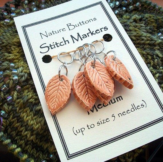 Medium Carmel Ceramic Leaf Stitch Markers by naturebuttons on Etsy