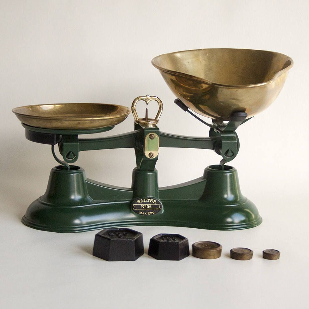 Vintage Traditional Green Salter No 56 Kitchen Scales With Metric Weights By Upstagedvintage On Etsy Kitchen Scale Vintage Traditional