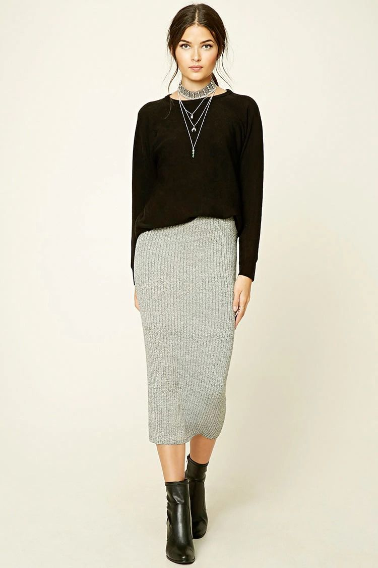 Forever 21 Contemporary - A ribbed sweater knit midi skirt ...