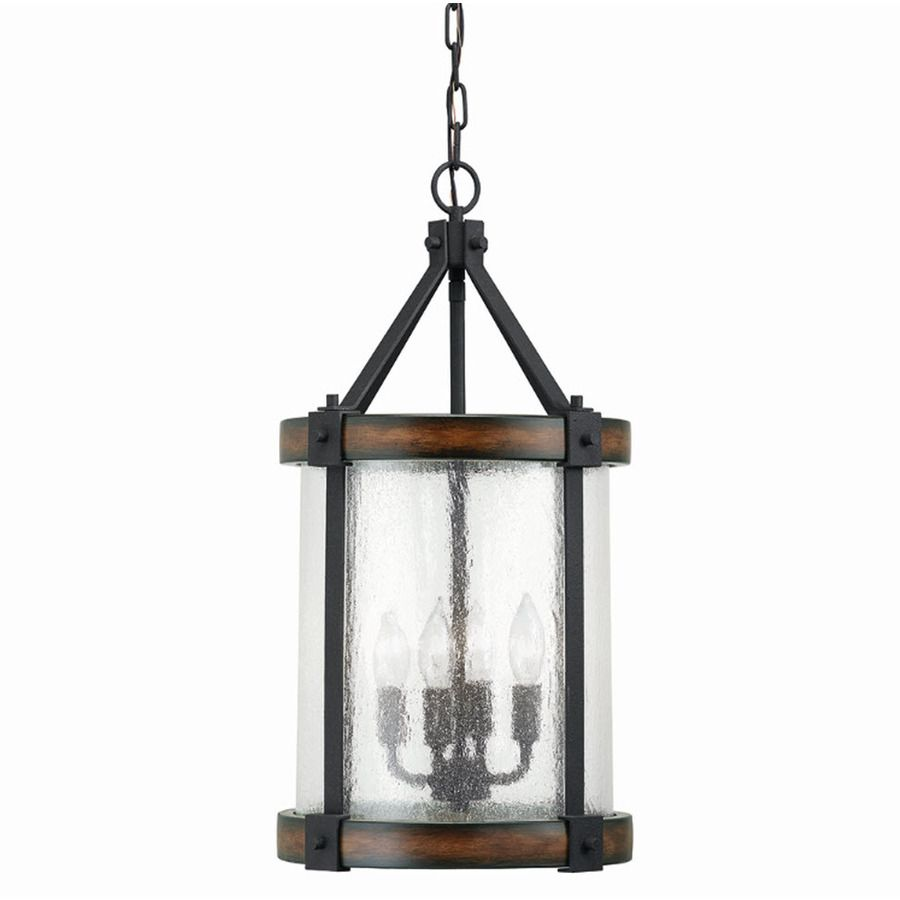 Shop Kichler Lighting Barrington W Distressed Black And Wood Pendant Light With Clear