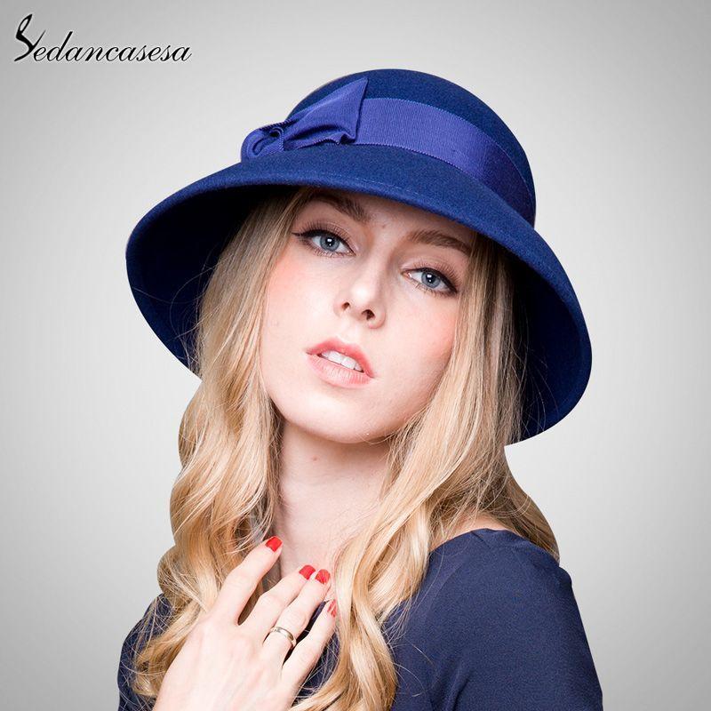 Ladies Fashion Hut: 100% Australian Wool Fedora Hat Bowknot Noble Bowler Hats