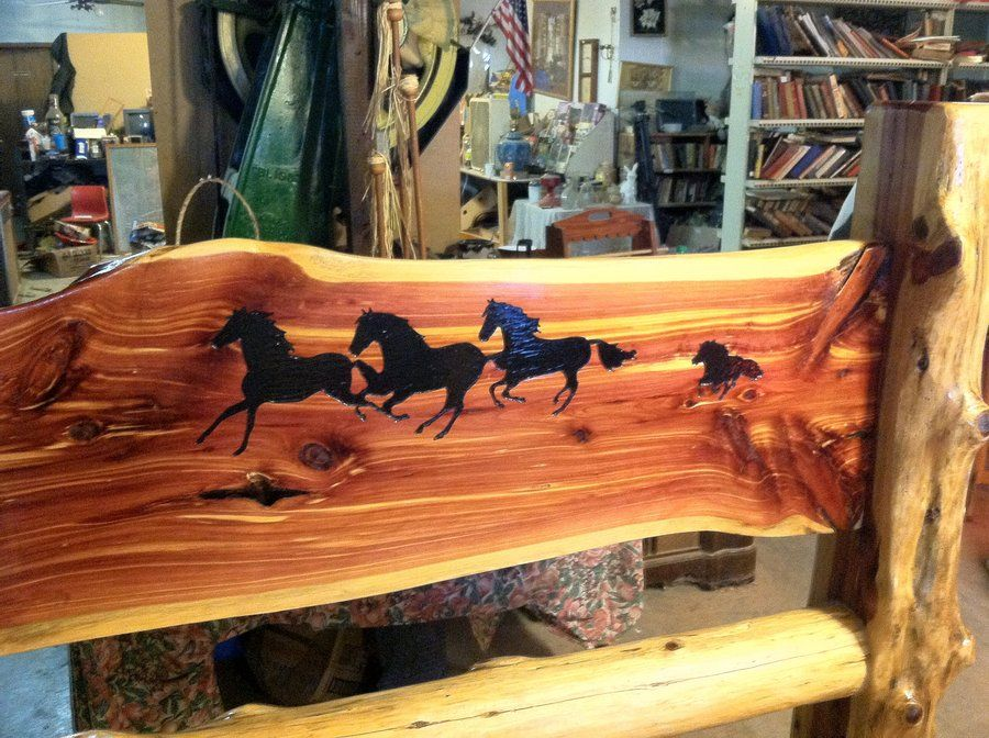 Red cedar live edge slab log bed with routed artwork for Cedar wood headboards