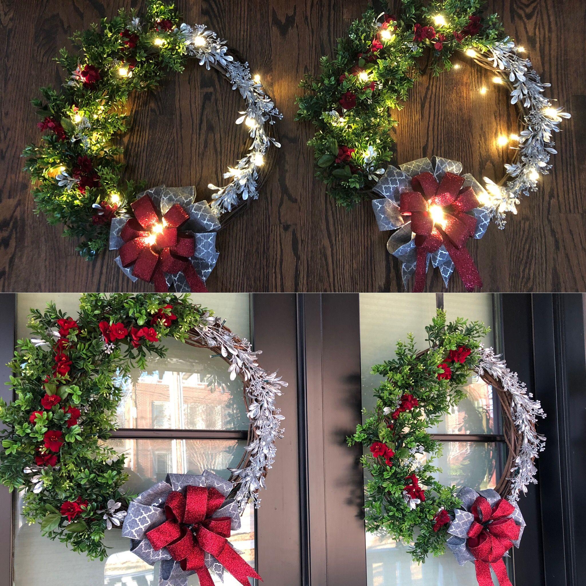 Lighted modern farmhouse wreaths for the holidays