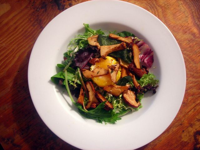 Chanterelle and fried herb salad, with farm egg fried in olive oil by Stash41NYC, via Flickr