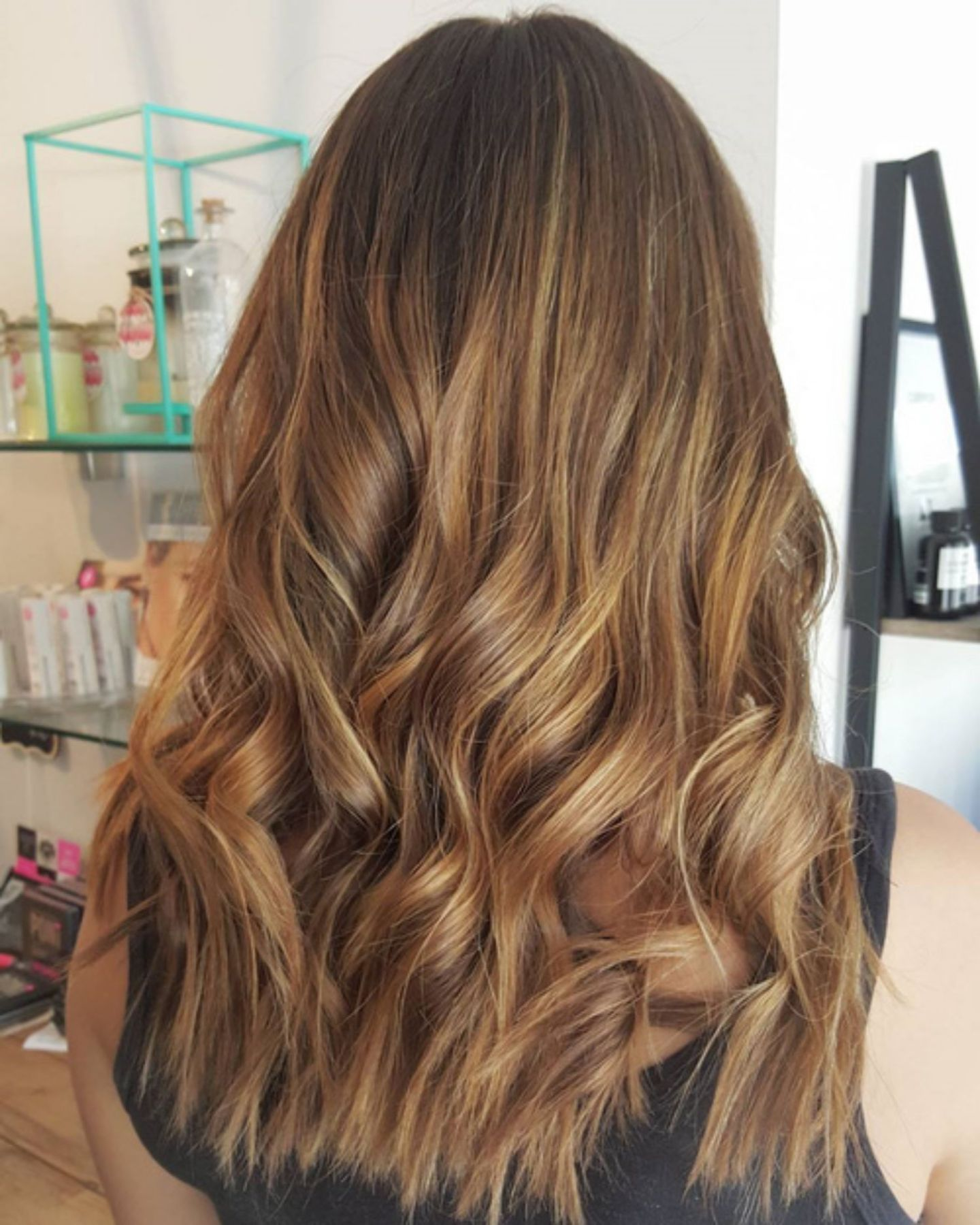 Brown Dark hair with caramel ombre