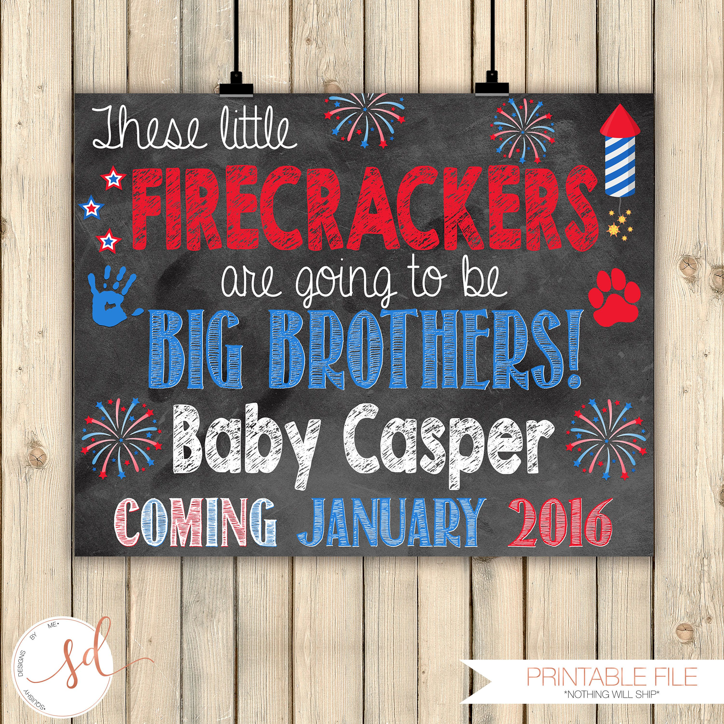 This little firecracker is going to be a big brother baby reveal fourth of July pregnancy announcement Fourth of July shirt big sister