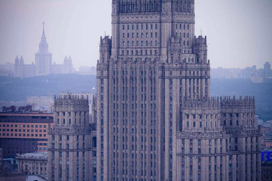 Ministry of Foreign Affairs skyscraper building in Moscow, Russia - invitation issued by the russian foreign ministry