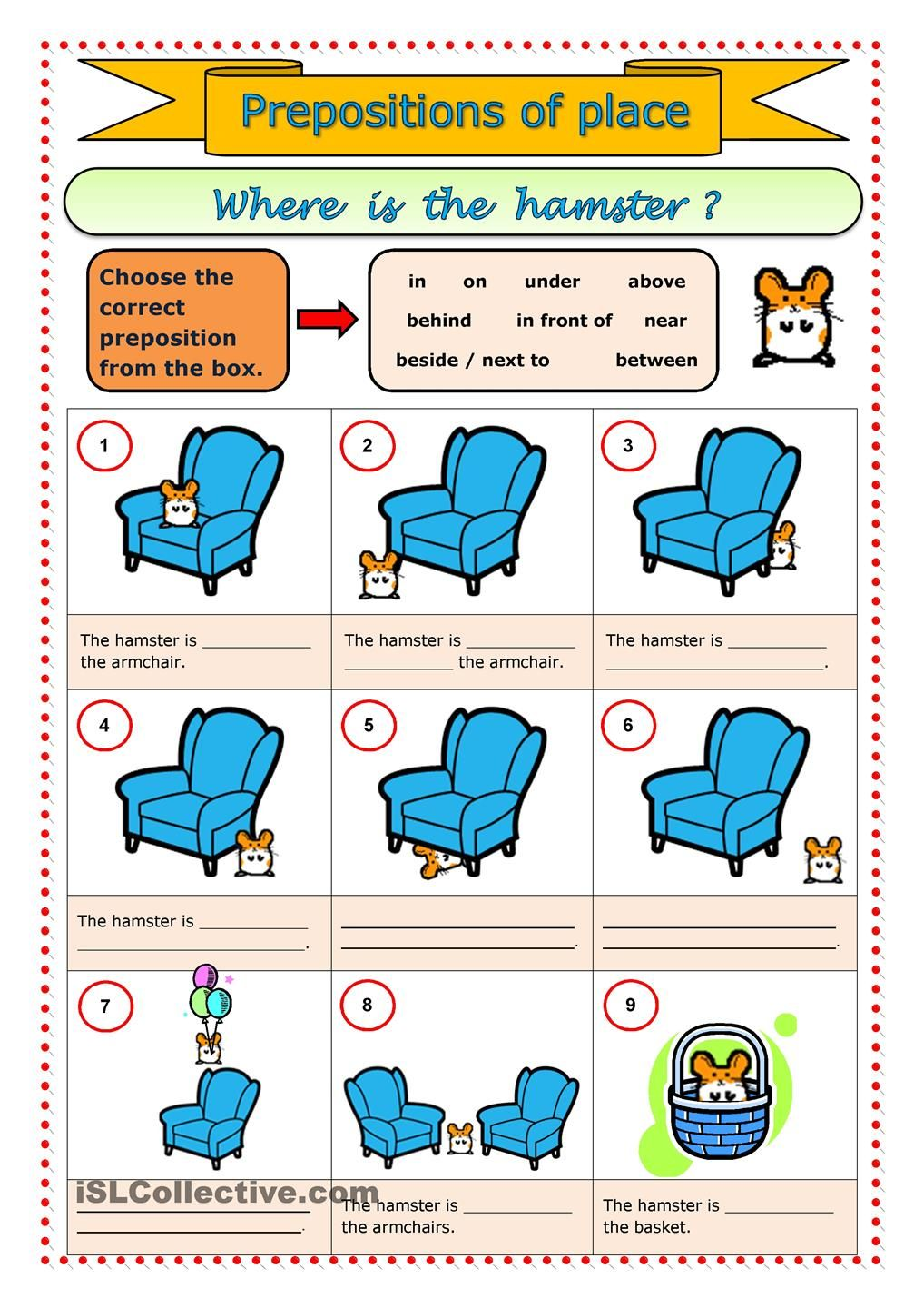 Prepositions of place | ESL worksheets of the day | Pinterest ...